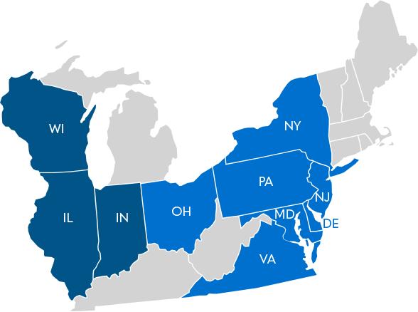 food distributors - map of Novick distribution area - Novick Corporation - Pennsylvania