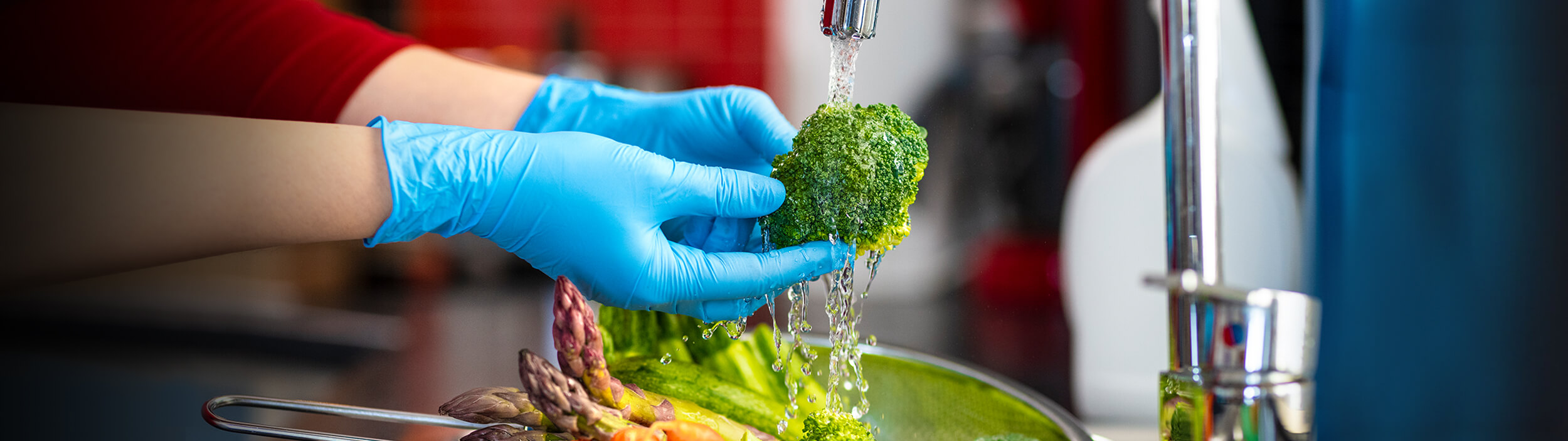 food safety training in Pennsylvania - person's hands washing vegetables - Novick Corporation